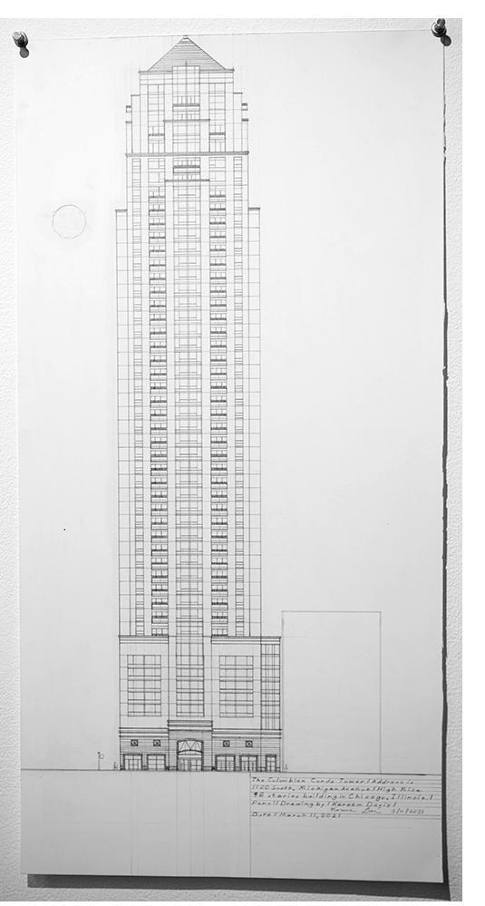 "Kareem Davis - ""Columbian,"" pencil on paper, 2021"