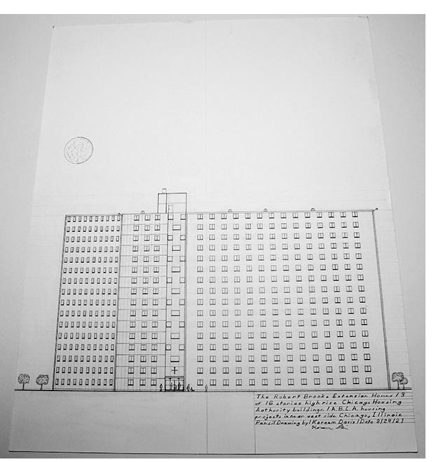 "Kareem Davis - ""Robert Brooks,"" pencil on paper, 2021"