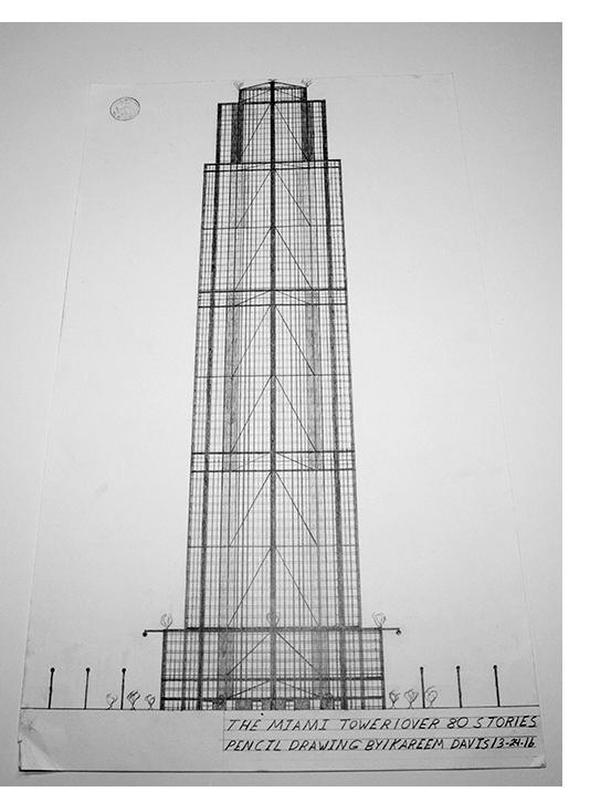 "Kareem Davis - ""Miami Tower,"" pencil on paper, 2016"