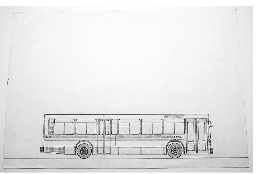 "Kareem Davis - ""CTA 4100,"" pencil on paper, 2015"