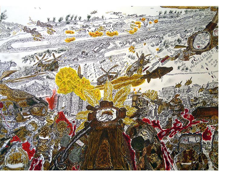 David Houis - 48 Heures d'enfer 13 -- 50 x 65 cm, mixed media