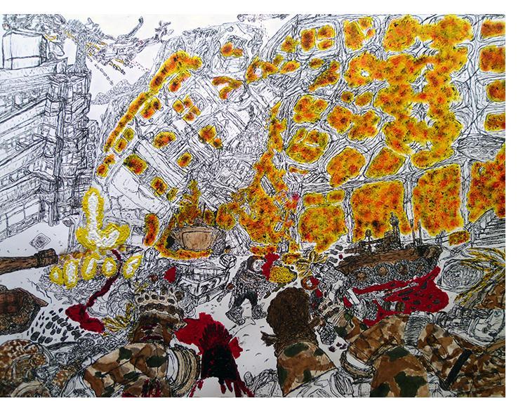 David Houis - 48 Heures d'enfer 6-- 50 x 65 cm, mixed media