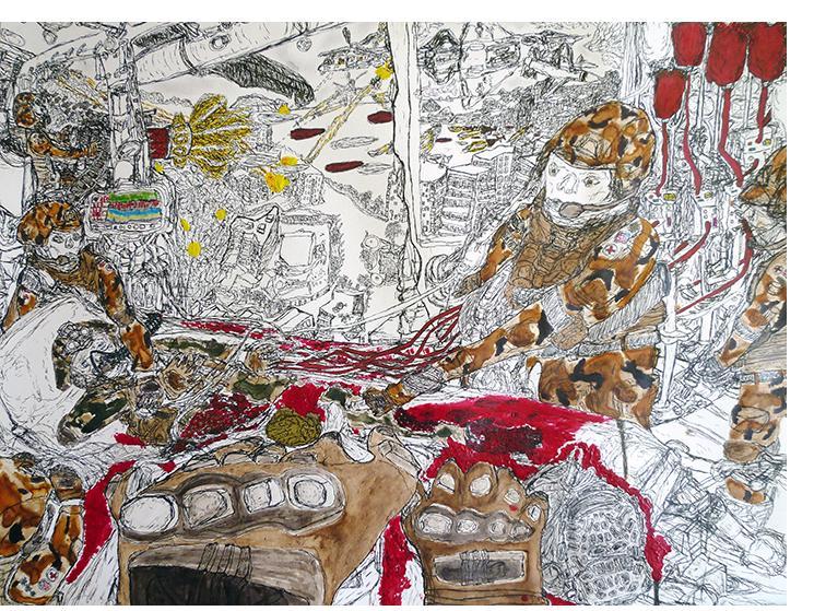 David Houis - 48 Heures d'enfer 7-- 50 x 65 cm, mixed media