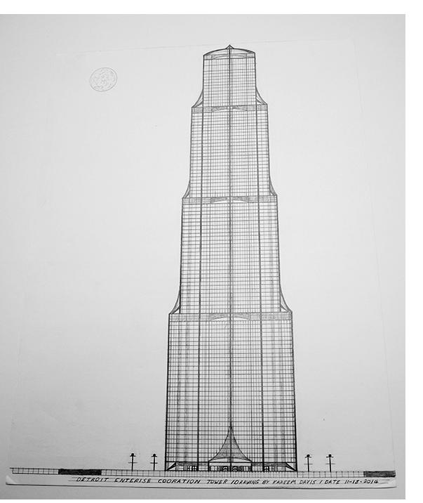 "Kareem Davis - ""Detroit Enterprise,"" pencil on paper, 2020"