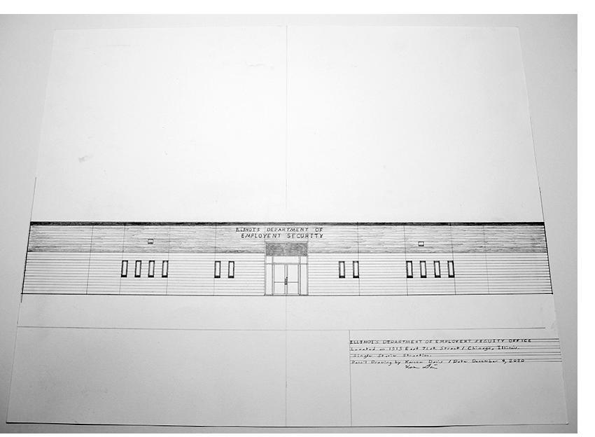 "Kareem Davis - ""IL Dept. of Employment,"" pencil on paper, 2020"