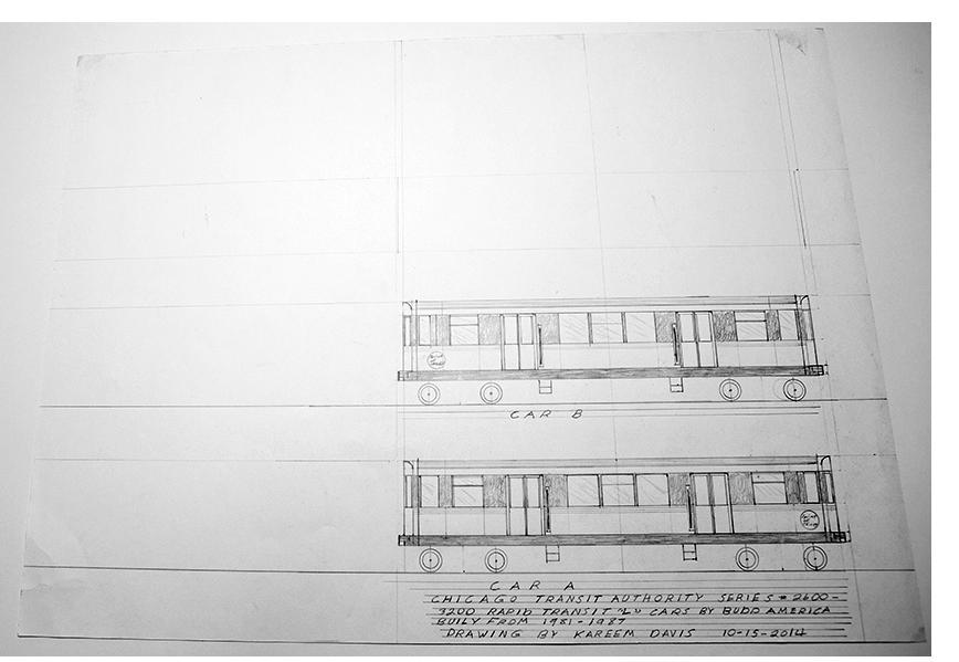 "Kareem Davis - ""Car A,"" pencil on paper, 2014"