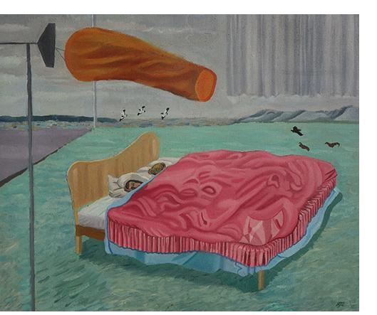 Bryan Charnley - 'Airfield Bed'  Oil on Canvas circa 14 x 16 ins circa 1987