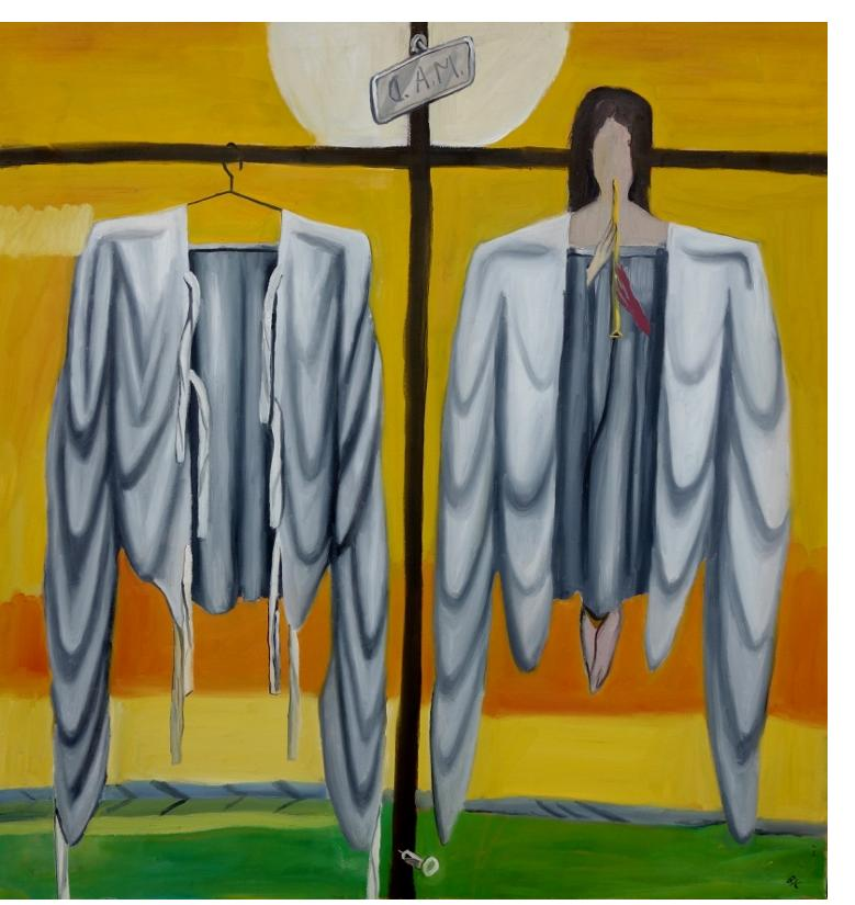 Bryan Charnley - 'Angela and Straight Jacket' 38 x 40 ins. Oil on Canvas, c.1990.
