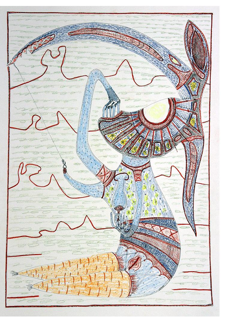 D168 - 29x7x42 cm - black ink and coloured pencils on paper 220gr - 2018