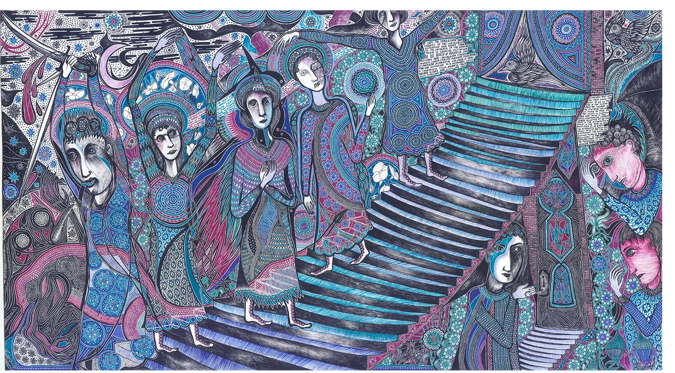 """Duerr - """"Scroll panel 24 Sapphire Level"""" (36 X 66, ink on paper)"""