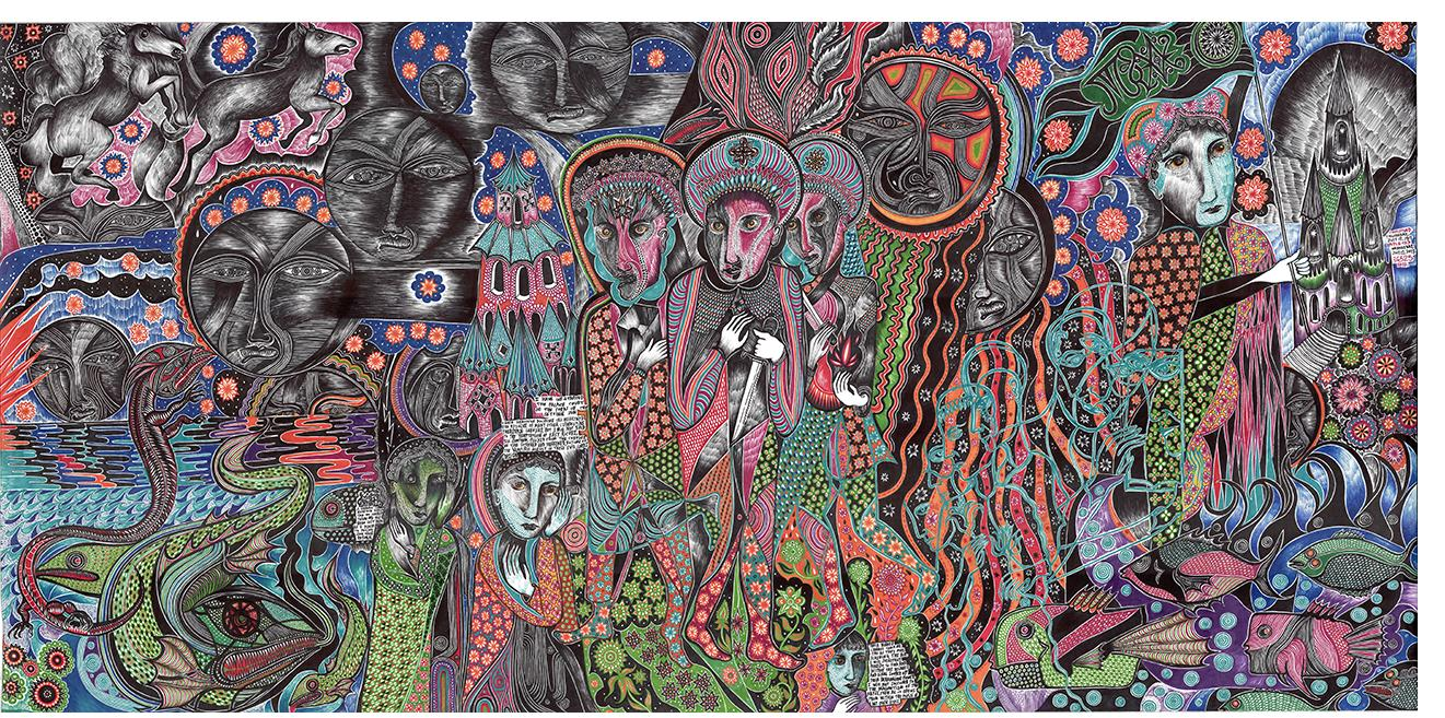 """Duerr - """"Scroll panel 27 Lords of the Setting Sun"""" (36 x 74 in., ink on paper)"""