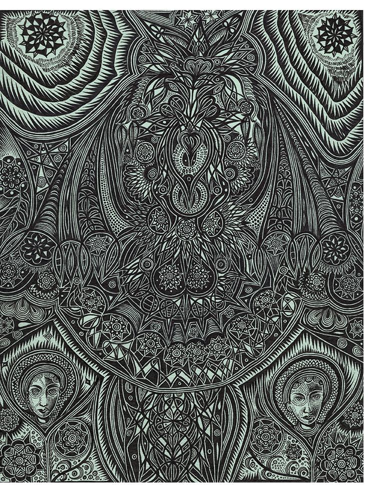"""Duerr - """"Moonlight Garden Bat with Time"""" (11 x 8.5 in., ink on paper)"""