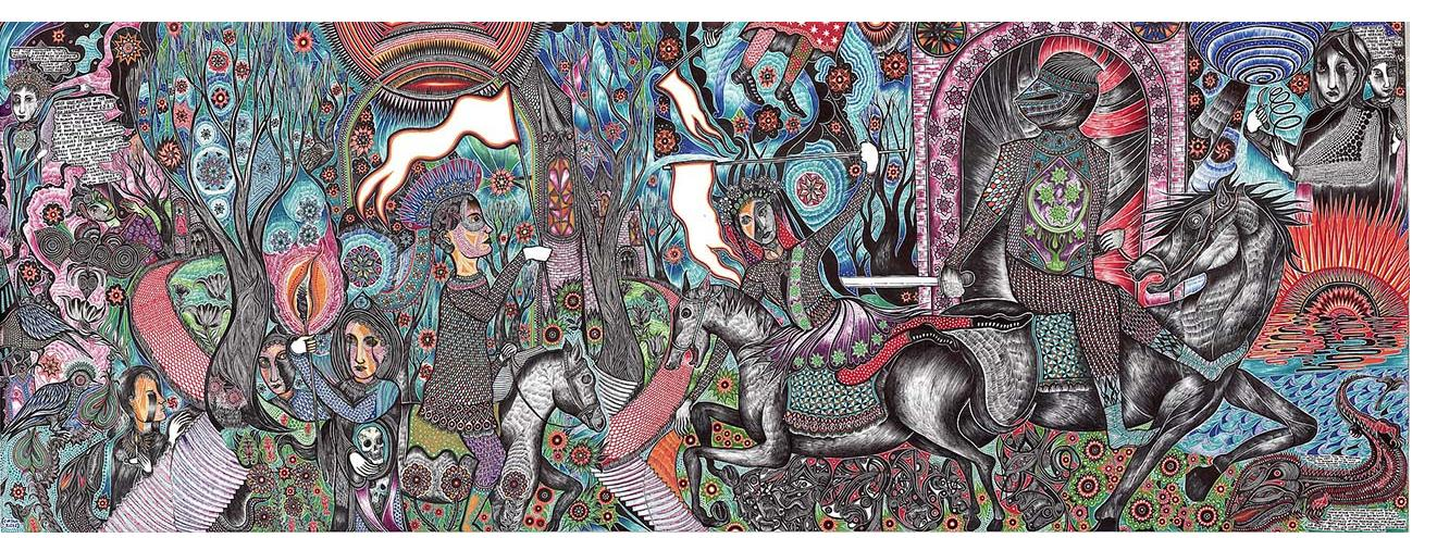 """Duerr - """"Scroll panel 26 On the Heels of World War Five"""" (36 x 99.3 in., ink on paper)"""
