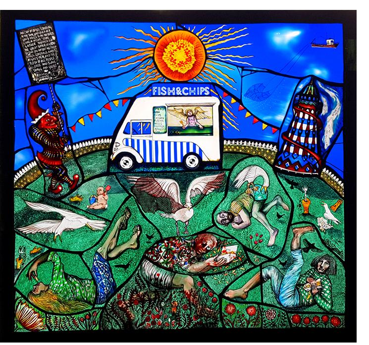 Pinkie Maclure:'Fish and Chips', Stained Glass