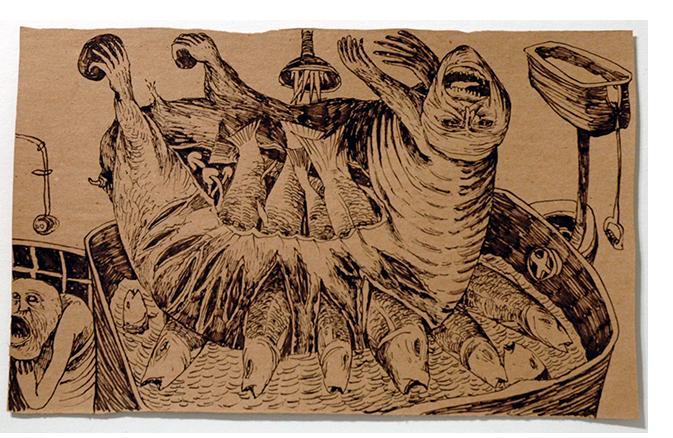 Foma Jaremtschuk  'Untitled' c.1955  ink on found paper  34 x 46 cm