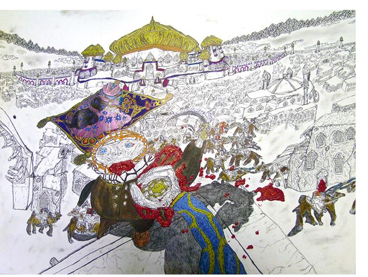 David Houis - L'Orient Sauvage-- 55 x 73 cm, mixed media