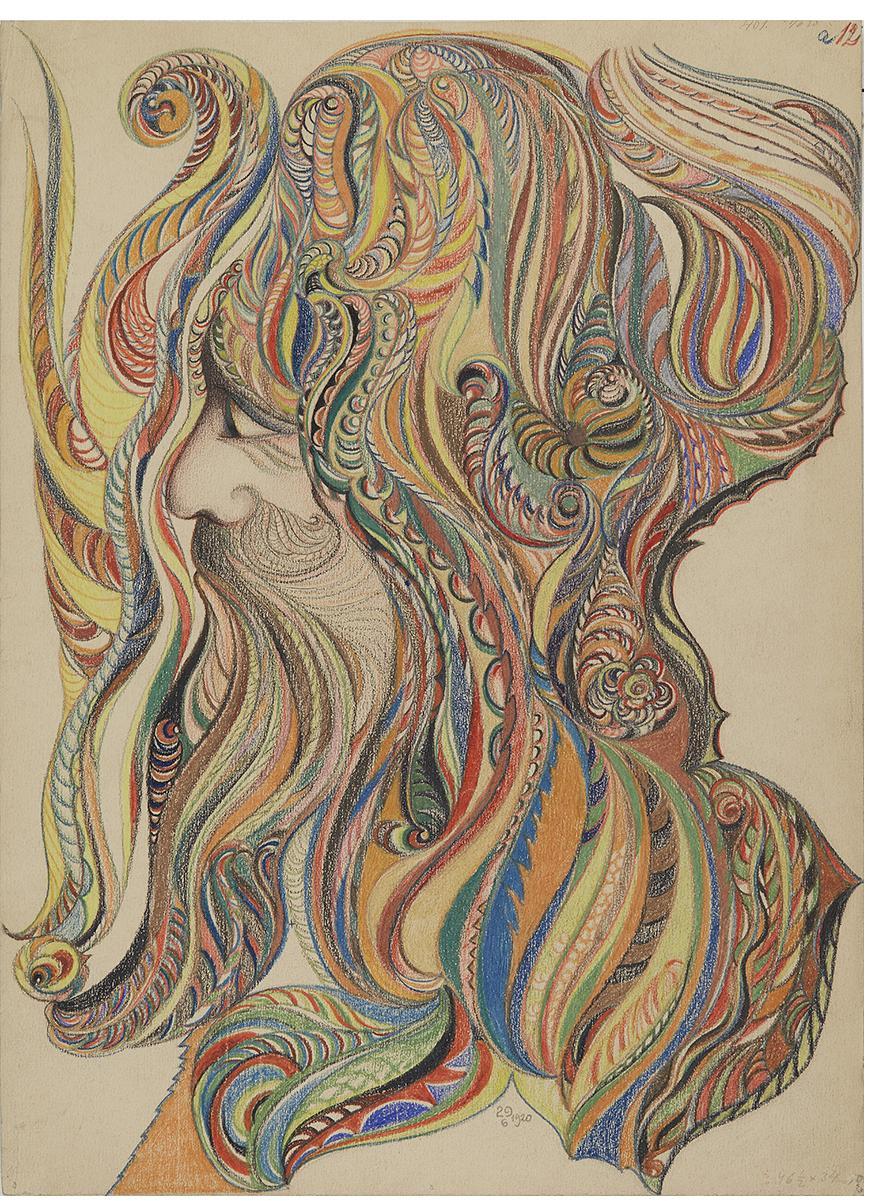 František Jaroslav Pecka, untitled, 1920, colored pencil, graphite on paper, 47 x 34 cm Courtesy Gallery of Everything