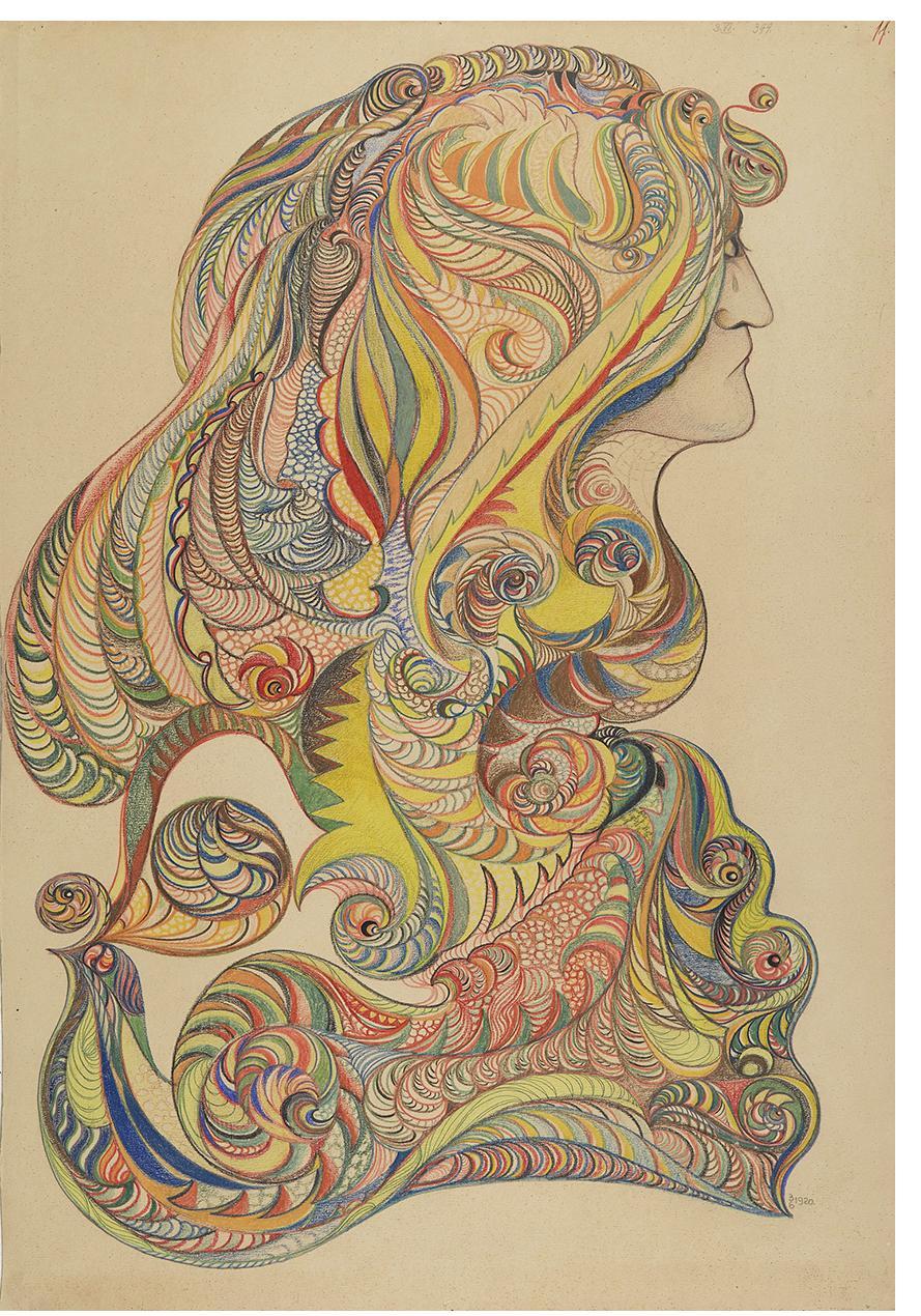František Jaroslav Pecka, untitled, 1920, colored pencil, graphite on paper, 68 x 47 cm Courtesy Gallery of Everything