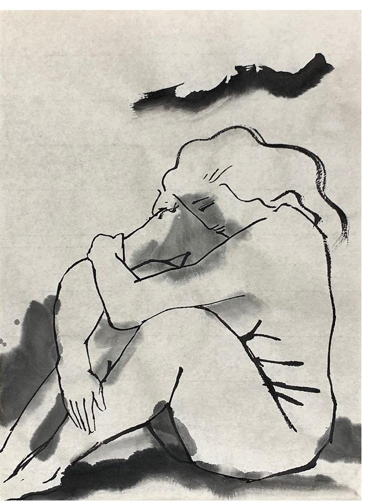Introspective Figure, 20 January 2021, ink on Japanese paper, 24.2 x 33.5 cm
