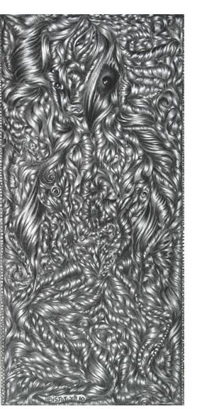 David Abisror :'Untitled', 9 x 4 ins, pencil on card - Outsider Art