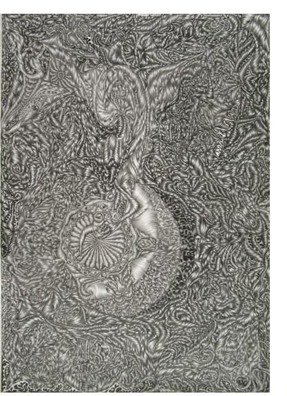 David Abisror :'Untitled', 23 x 17 ins, pencil on card