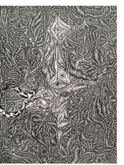 David Abisror :'Untitled', 25 x 34 ins, pencil on card - Outsider Art