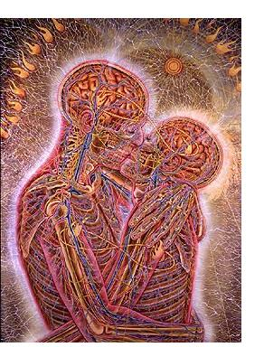 Alex Grey :'Kissing' - 1983, oil on linen, 66 x 44 ins