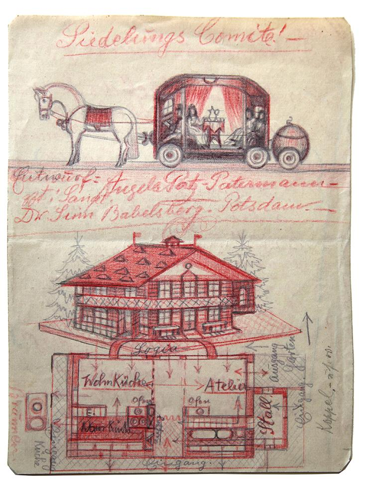 "Angelika - ""Carriage and House"" - found paper  8 x 6 ins"