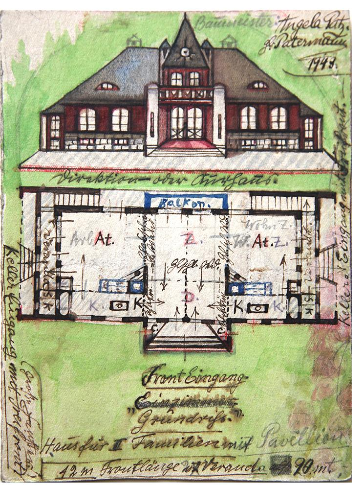 "Angelika - ""House for Two Women with Pavilion""- found paper  6.75 x 5 ins"
