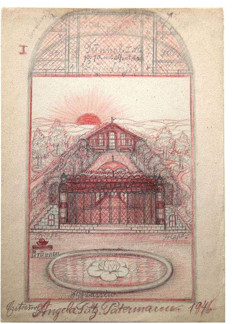 "Angelika - ""House With Fountain""- found paper  8.25 x 5.75 ins"