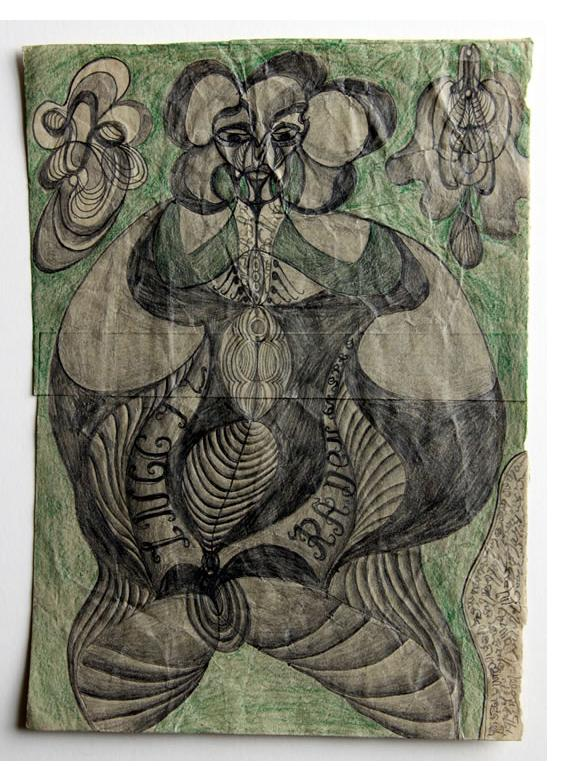 Noviadi Angkasapura:  'Untitled' 2015  pencil & crayon on found paper  9 x 7 ins