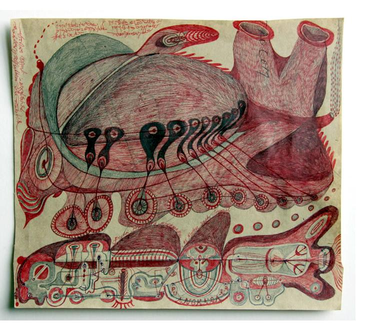 Noviadi Angkasapura:  'Untitled'  2015  ink & crayon on found paper  7 x 8.5 ins