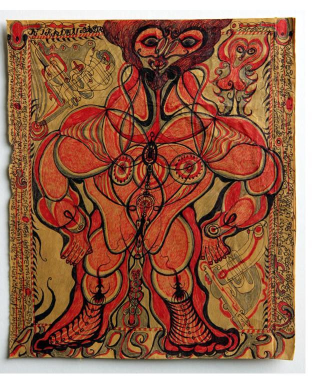 Noviadi Angkasapura:  'Untitled' 2015 ink & crayon on found paper  8 x 7 ins