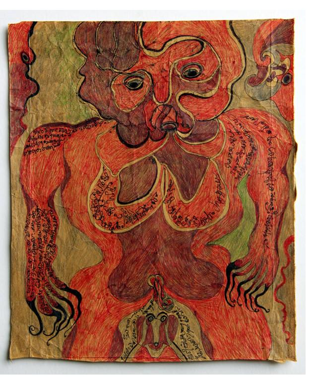 Noviadi Angkasapura: 'Untitled' 2015  ink & crayon on found paper 7 x 8 ins