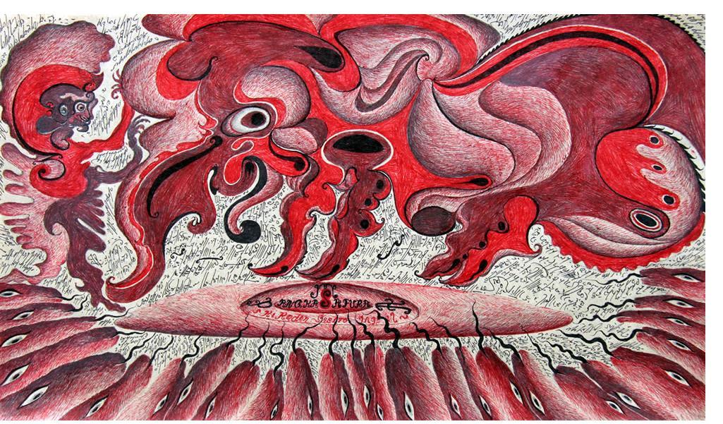 Noviadi Angkasapura: 'Untitled'  mixed media on found paper 12 x 18 ins