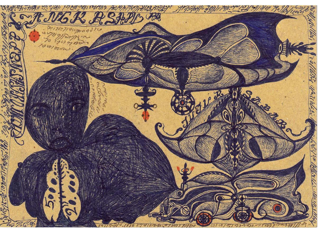 Noviadi Angkasapura: 'Untitled'  ink & crayon on paper, 6 x 8 ins