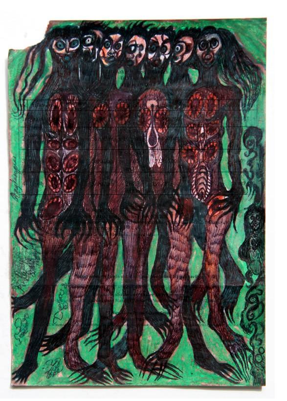Noviadi Angkasapura: 'Untitled'  c.2012  ink & watercolour on found paper  8.5 x 5.75 ins