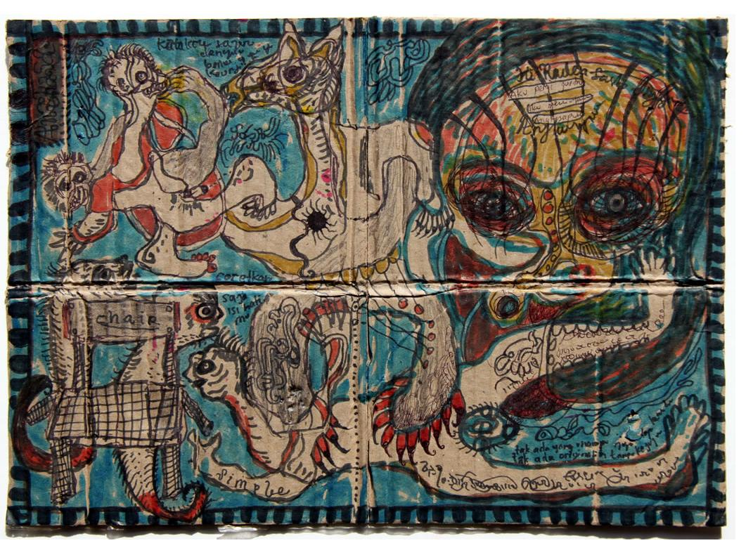 Noviadi Angkasapura: 'Untitled' c.2013 mixed media on found card