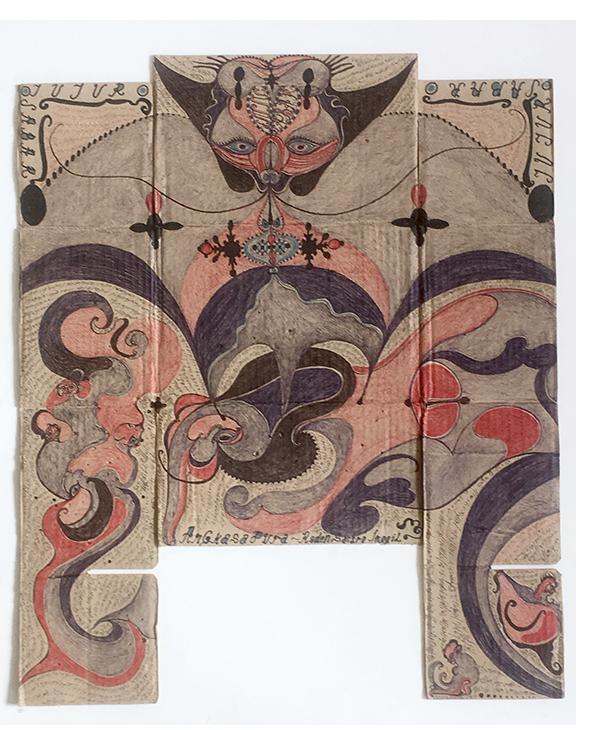 Angkasapura Untitled 2015 ink on found card. 62 x 50cm