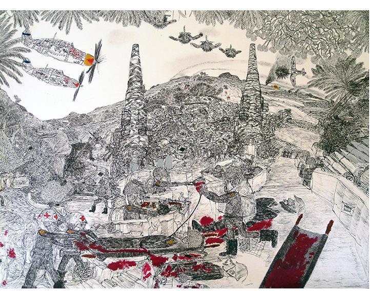 David Houis - Assaut des Forces USA - 13 -- 50 x 65 cm, mixed media