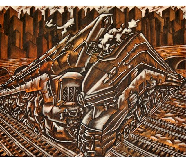 Bart Powers - 'Final Train Wreck', 24 x 36 ins, oil on canvas
