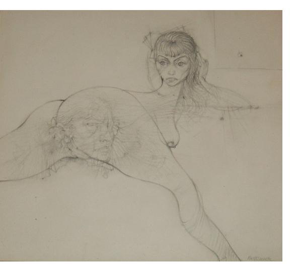 Hans Bellmer:'Cephalopodie a deux' - 1955, pencil, 9 x 10 ins