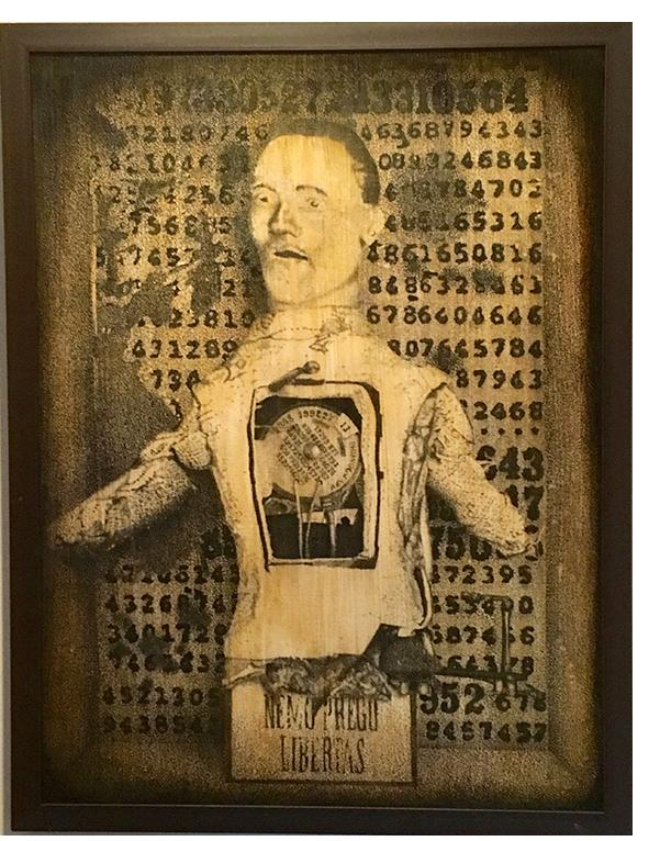 Charles Benefiel. 'A New Man'. Ink, tea stain and varnish on paper 34 x 25 ins