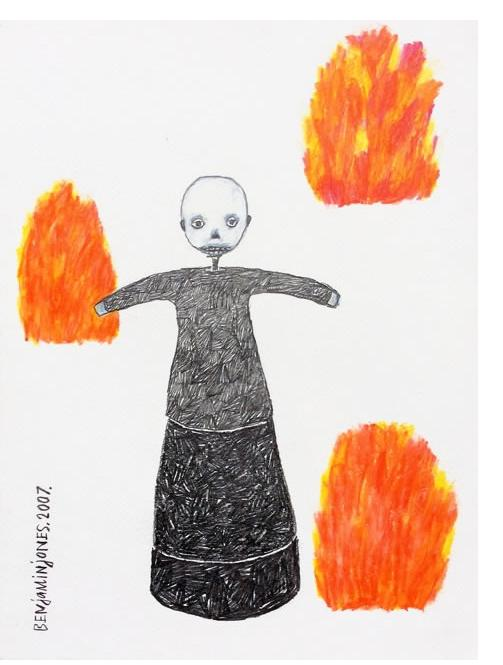 Benjamin Jones : 'Burning Monks' 2007, unframed graphite and colored pencil on paper, 12 x 9 ins