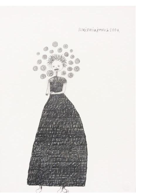 Benjamin Jones : 'Flower Girl' 2004, Graphite on paper, 14.5 x 10.5 ins