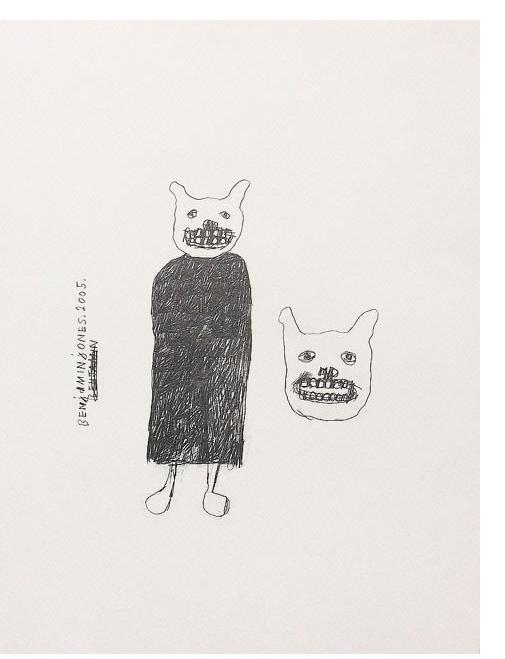 Benjamin Jones : 'Gate Keepers' 2005, graphite on paper, 16 x 12 ins