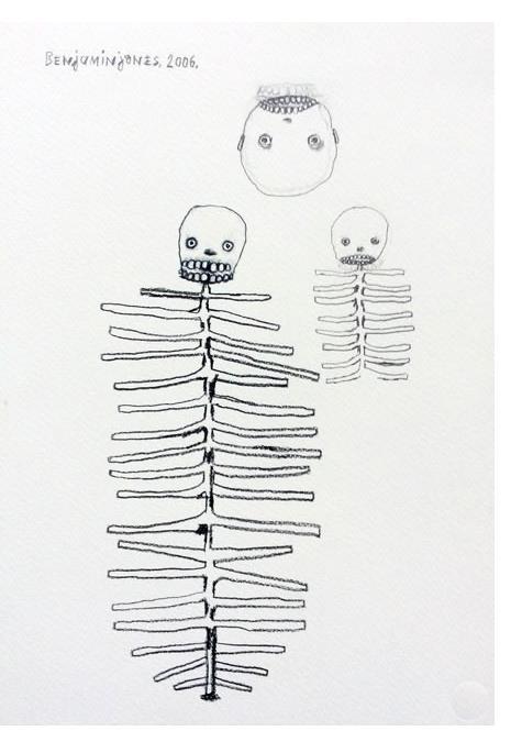 Benjamin Jones : 'Three' 2006, graphite on paper, 14.5 x 10.5 ins
