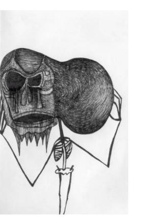 Nick Blinko - 'Skeleton Series', 6 x 4 ins, ink on paper