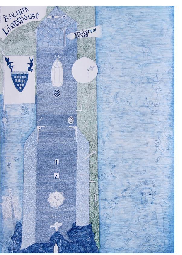 Nick Blinko - 'Asylum Lighthouse'  2014  ink on paper  16.5 x 11.5 ins