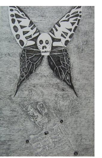 Nick Blinko, 'Butterfly Skull' - 8.25 x 4.75 ins, ink on paper
